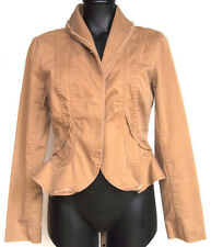 Anthropologie Sitwell Jacket Peplum Fit Size 6 Tan Layered & Frayed Collar/Lapel