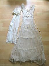 Vintage 1920's antique sheer net tiered lace wedding gown train cloche veil