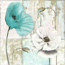 4x Single Table Party Paper Napkins for Decoupage Decopatch Craft Blue Poppies