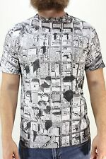 New ALPHANUMERIC Mens SatCom T Shirt S White/Gray/Black Small All Over Print DR1