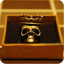 Vintage style crown skull ring biker punk goth 2 colours