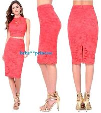 NWT bebe coral pink overlay lace floral midi pencil skirt club party S small 4