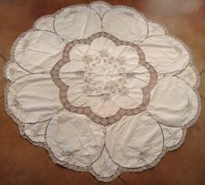 "Vintage Madeira Linen Cutwork Ecru Embroidered 66"" Round Table Cloth 8 Napkins"