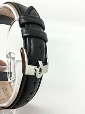 NEW OMEGA GENUINE LEATHER 18MM WATCHES STRAP BLACK SILVER PLATED BUCKLE WS-S6