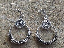 Fatto a mano etnico ossidato indiano placcati argento spirale etnico orecchini
