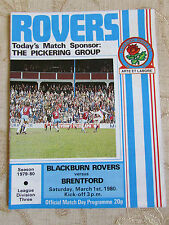 The Official Match Day Programme Of  Blackburn Rovers & Brentford  1980