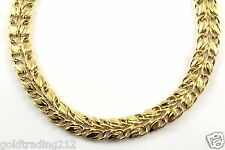 14K YELLOW GOLD HOLLOW LEAF LEAVES BRAIDED DESIGN SOLID NECKLACE GNC 69