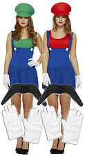 Ladies Mario + Luigi 80s Fancy Dress Costume Lady Plumber+ Gloves + Moustache