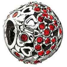 Authentic Chamilia Element  'Captured Hearts' Red Swarovski Bead 2025-0681