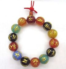 "Om mani padme hum Carved Wrist Mala 14mm Agate bead 7"" stretch bracelet"