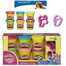 Play-Doh Sparkle Compound Collection 6 Mini Pots And 2 Cutters Christmas Gift