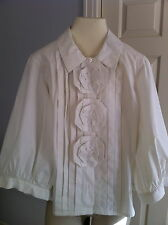 Oscar de la renta white cotton blend blouse with rosettes and 3/4 sleeves