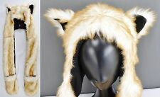 Fox Hood Faux Fur Hat Long Mittens Paws Academy Fit Winter Animal White Brown H2
