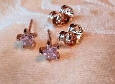 swarovski crystal pink star stud earrings new/wout tag 18k yellow gold filled