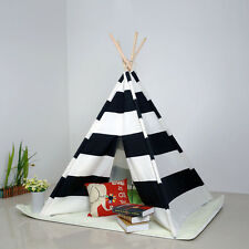Kids Teepee Tipi Play Tent Playhouse indoor outdoor Black Striped Tents US STOCK