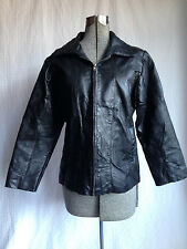 Back Patchwork Size Small Quilted Pattern Black Genuine Leather Biker Jacket