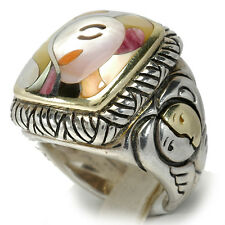 Asch Grossbardt ring museum collection Picasso multi gem inlay silver 18K NEW