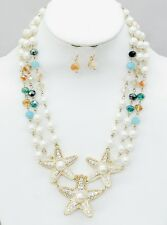 Cream Faux Pearl Multi Color Faceted Glass Bead Starfish Necklace Earring Set