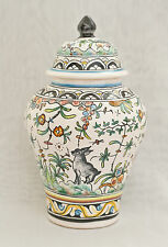 Coimbra, PORTUGAL vase with lid // VINTAGE hand-painted ceramic pottery