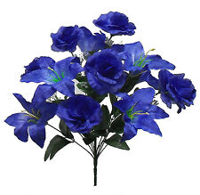 "20"" ~ ROYAL BLUE ~ Tiger Lily Roses Centerpieces Silk Wedding Flowers Bouquets"