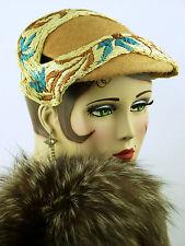 Cappello VINTAGE 1940s francese, scolpito a fascia, E. Delpire, Hessian & Floreale rafia