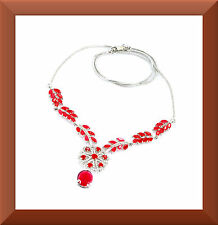 """New Red Ruby & White CZ 925 Sterling Silver Necklace 19"""" Long FREE SHIP US # 260"""