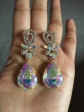 "2.4"" Long AB Dangle Aurora Borealis Clear Crystal Gold Pageant Bridal Earrings"