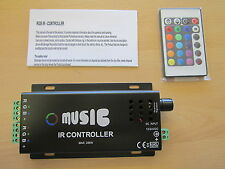 12V/24V DC 288W IR Music Controller + Remote Control for RGB LED Strip Lights