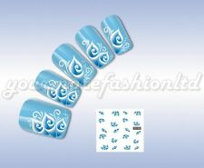 NAIL ART WATER TRANSFER STICKERS DECALS WRAPS LIGHT BLUE FLOWERS STYLE(D67)