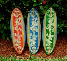 Vintage Style Surfboard Wall Art Wood Set of 3 Distress Red Green Blue Beach Hot