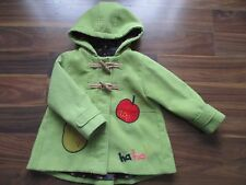 Girls NEXT green apple & pear design jacket coat 2-3 years VGC