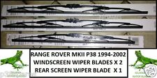 Range Rover P38 1994-2002 2x Windscreen Wiper Blades 1x Rear Screen Wiper BLade