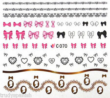 Nail Art Stickers Nail Water Decals Nail Transfers Bows Flowers Lace Hearts C070