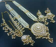 WHITE PEARL CZ RANI HAAR GOLD TONE LONG NECKLACE SET INDIAN ETHNIC JEWELRY
