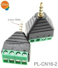 """2-Pack 3.5mm 1/8"""" TRRS Male Jack to AV 3-Screw Terminal Block Balun Connector"""