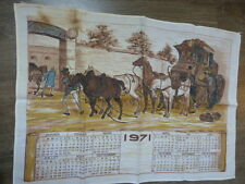 calendrier tissus chevaux ,caleche ,diligence 1971