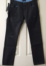 "Mens Black Gold Diesel Jeans Ripped / Distressed Jeans 35"" Waist"
