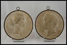 c.1853 J. PEYRE PAIRE MEDAILLON PLATRE NAPOLEON III & EUGENIE CERCLAGE LAITON