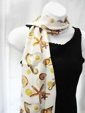 NEW BEACH SCARF SEALION SHELL STARFISH WHITE SUMMER SEA 13 by 60 inches