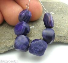 6 BEAUTIFUL RARE 4.7-9.8mm AFRICAN PURPLE UNTREATED SUGILITE BEADS 22cts