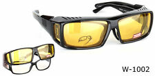POLARISED OVER GLASSES SUNGLASSES BLACK WRAP AROUND SUN SHIELDS Night Driving