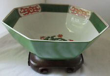 FITZ & FLOYD LARGE DRAGON CREST OCTAGONAL BOWL WITH STAND