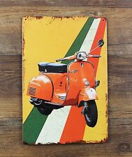 Rustic Vespa Sprint 150 Scooter Tin Sign Retro Metal Wall Decor Garage Display