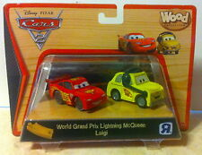 Disney Pixar Cars 2 Wood Collection World Grand Prix Lightning McQueen & Luigi