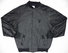 PLAYBOY MENS MEDIUM 100% LEATHER WOOL JACKET VINTAGE RARE BLACK GREY BUNNY LOGO