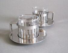 2x Alessi ARDT Moka tasse Design Aldo rossi en acier inoxydable verre 12 CL Espresso tasse