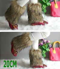 Faux Fur Leather Grass Leg Warmers Womens Girls Shoes Cover Socks Clothes  20-1