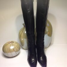 Valentine Women Black Leather Knee High Boots Made in Italy Size 8 B