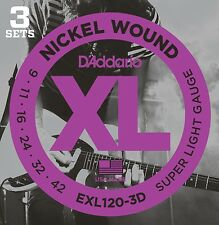 **D'ADDARIO EXL120 NICKEL LIGHT ELECTRIC GUITAR STRINGS - 3 SET VALUE PACK **