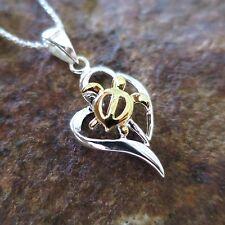 2 Tone Hawaiian Honu Turtle Heart Genuine 925 Silver Pendant Necklace #SP26005